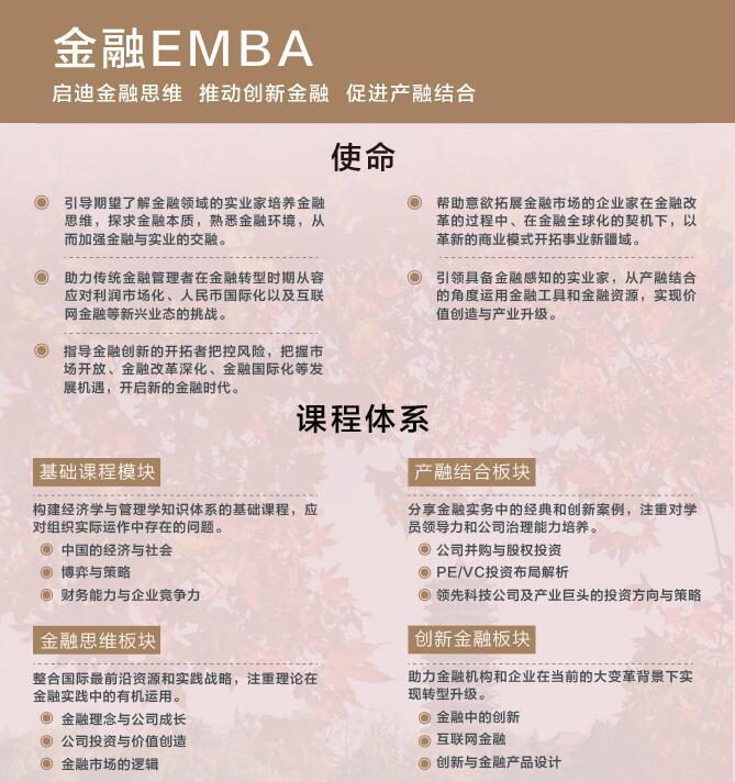 北大金融EMBA课程体系