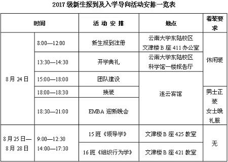 云南大学EMBA2017级新生报到安排通知