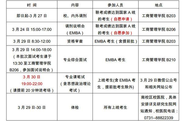 湖南大学EMBA复试安排